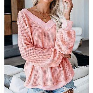 Pink Waffle Knit Sweater